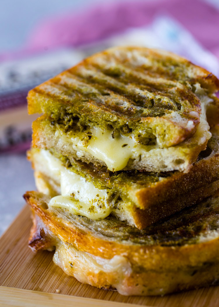 Cheddar Pesto Panini Melts