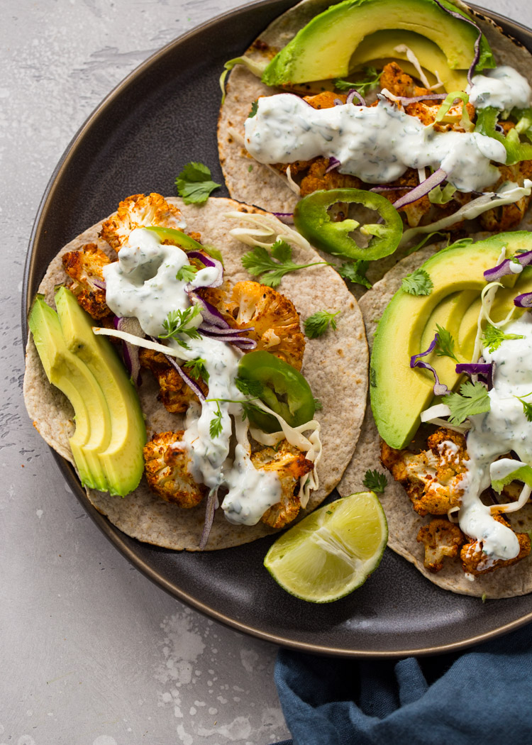 Roasted Cauliflower Tacos with Creamy Cilantro Sauce