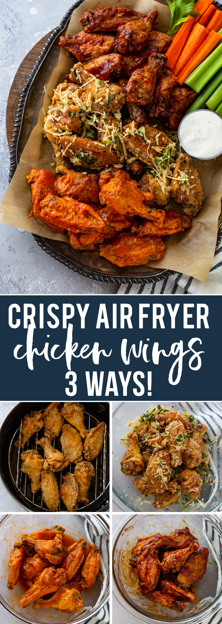 Super CRISPY Air Fryer Chicken Wings (3 Ways!)