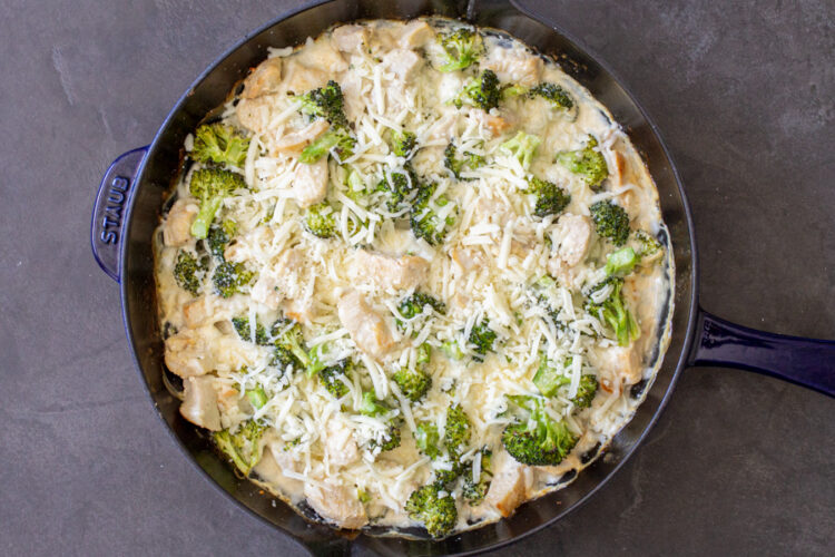 chicken, broccoli and creamy sauce with cheese on top