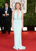 Jessica Chastain looks young and fresh in Calvin Klein mint-blue gown.
