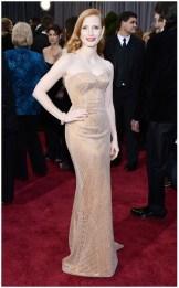 Jessica Chastain pale but beautiful in Armani Prive
