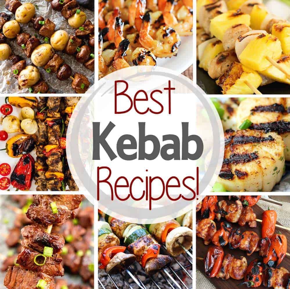 Square Kebab Collage. Eight photos of kebabs as a background to text best kebab recipes