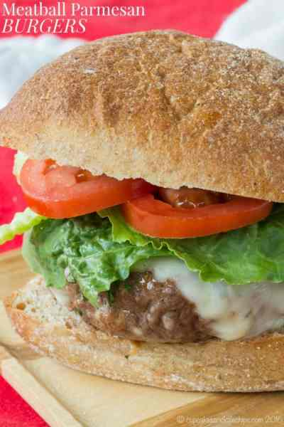 Meatball Parmesan Burger on cutting board