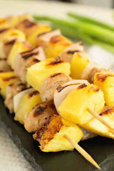 Chicken and Pineapple kebabs on a slate tray