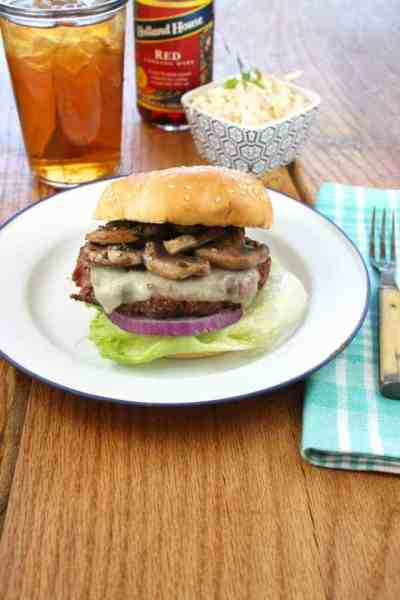 Mushroom cheese burger on plate