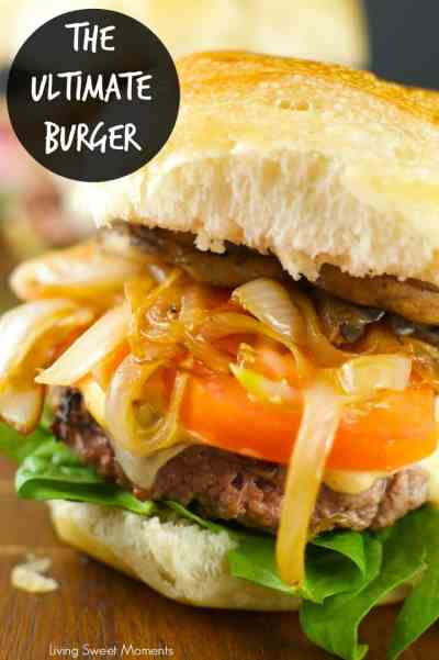 Burger with caramelized onions, tomato, and lettuce