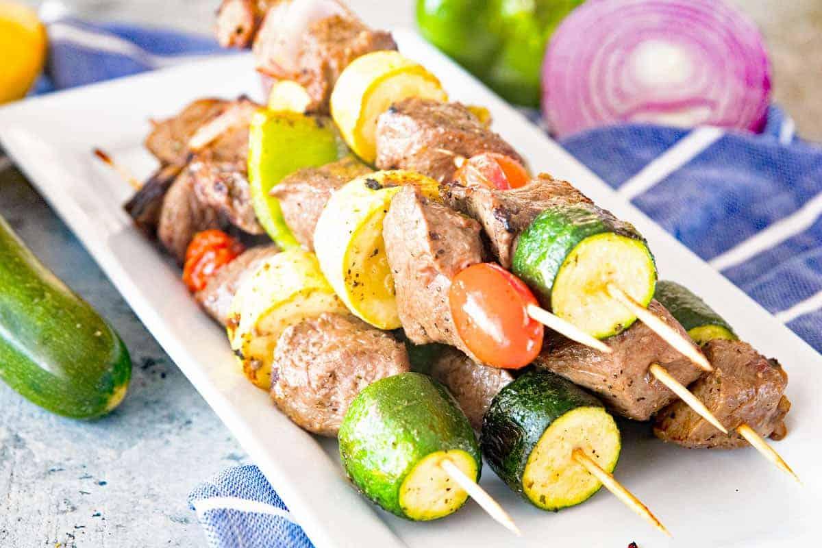 Marinated Grilled Vegetable and Steak Kabobs Landcape