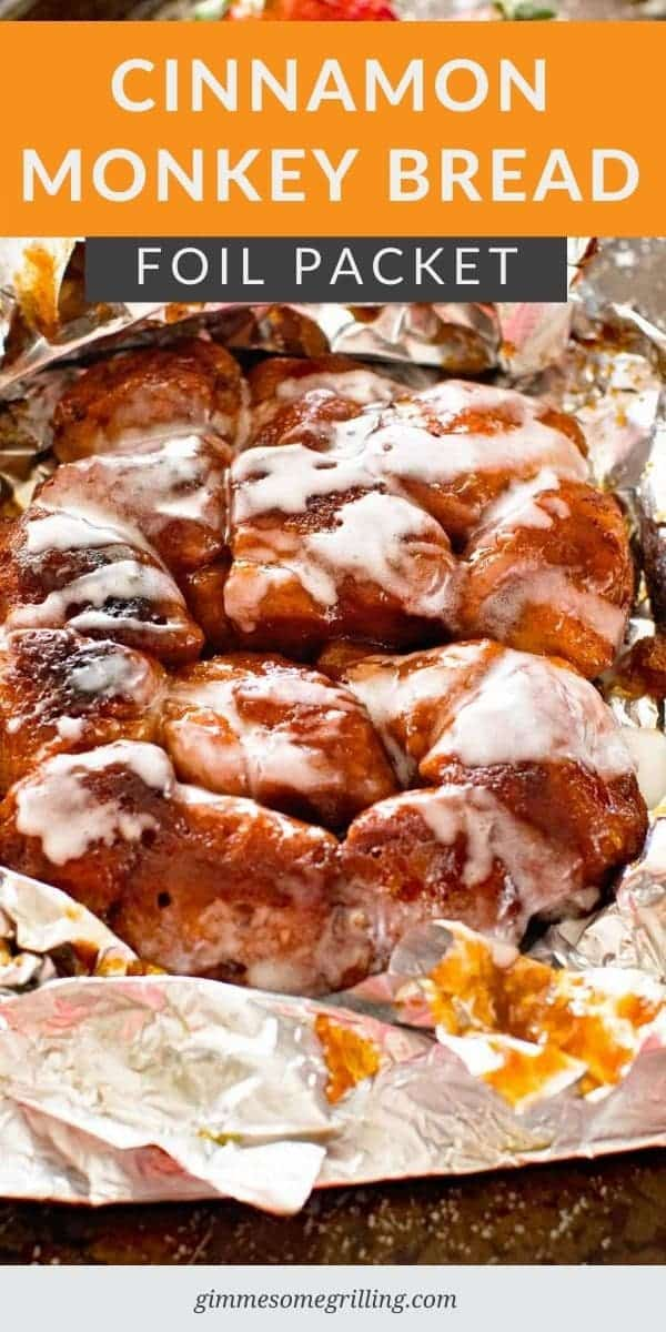Need a breakfast for camping? This foil packet breakfast is so easy and delicious. Cinnamon Monkey Bread Foil Packets start with a tube of cinnamon rolls are are cooked in a foil packet on the campfire, grill or in the oven! #breakfast #camping via @gimmesomegrilling