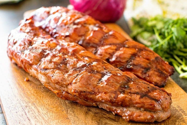 bbq pork loin on cutting board