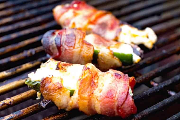 Cheesy Bacon Wrapped Jalapeno Poppers on Grill