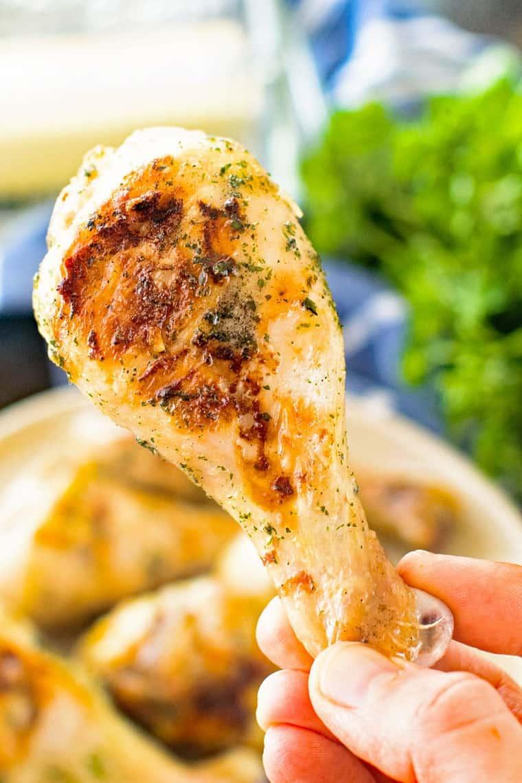 Grilled Ranch Chicken Dumsticks in Hand
