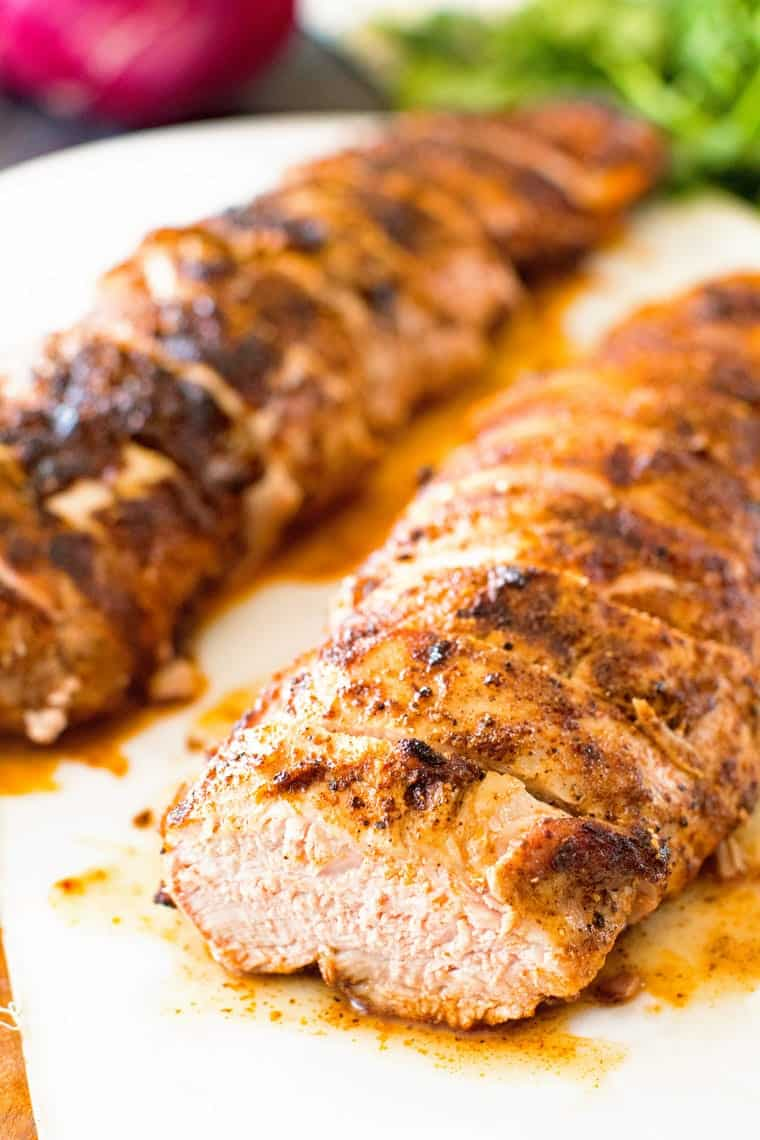 Sliced Southwestern Pork Loin on Cutting Board