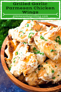 Pinterest image garlic parmesan wings