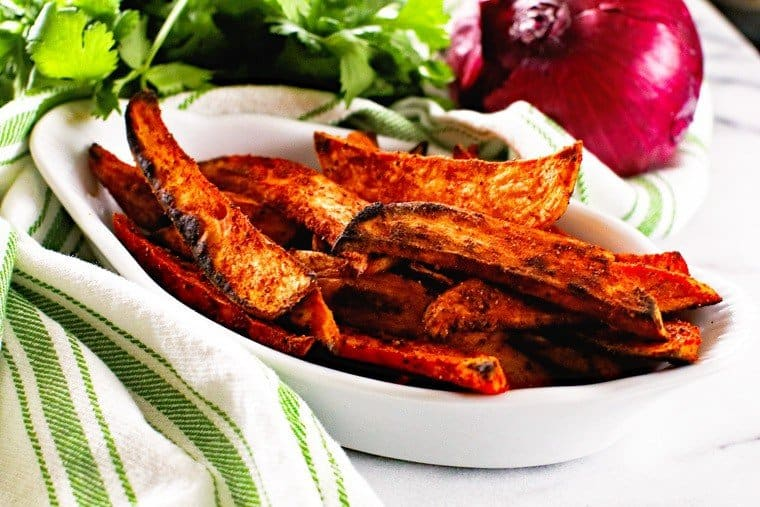 grilled sweet potatoes in white bowl