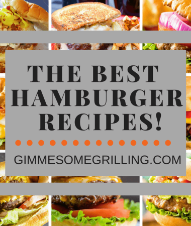 The Best Hamburger Recipes Collage. Seven images of hamburgers as the background to text reading the best hamburger recipes