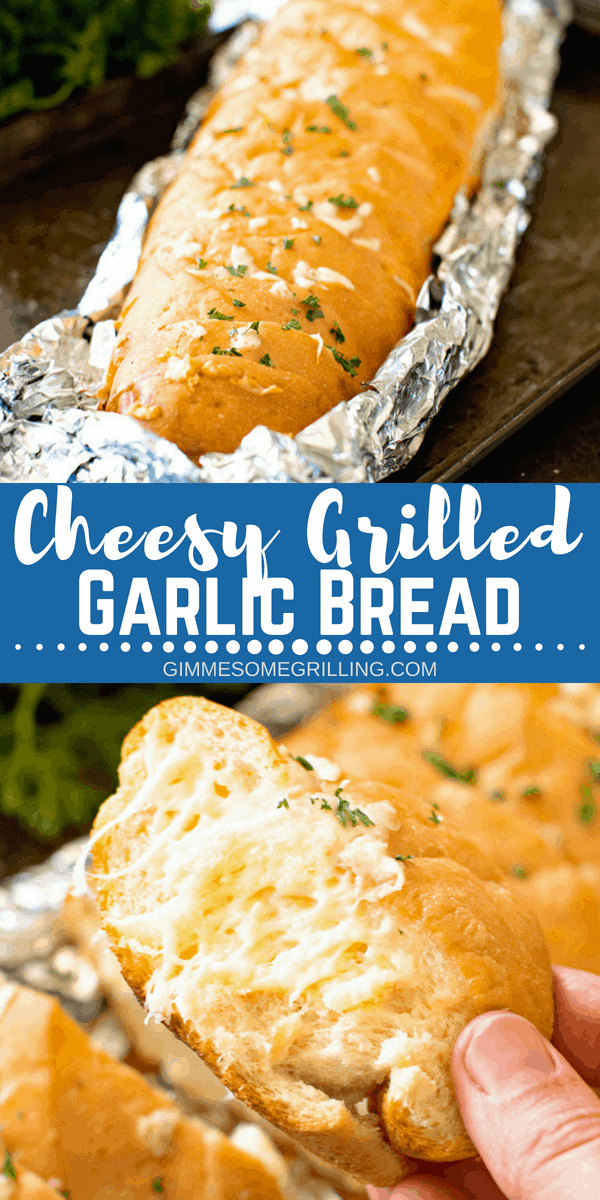Delicious Cheesy Grilled Garlic Bread is made right on your grill! You are going to love this perfectly toasty, crunchy garlic bread with cheese! The perfect side dish for your meal on the grill! #grill #grilled #cheese #bread #garlic #garlicbread #grilling #recipe #easy #easyrecipe #sidedish #gimmesomegrilling
