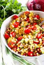 Corn Salad in white bowl