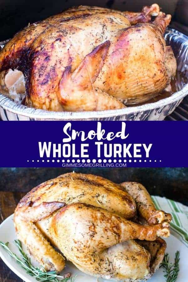 It's the holidays and your holiday is not complete with this amazing Brined Smoked Turkey! It's so juicy, full of flavor and easy! That's the best part. You will brine the turkey overnight and then pop it on your smoker the next day. The result is the perfect smoked turkey for your Thanksgiving Dinner! Mix it up this year and try smoking your turkey instead of roasting it in the oven. #smoked #turkey
