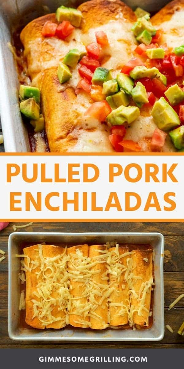 Pulled Pork Enchiladas are quick and easy! Full of flavor with simple ingredients. They are the perfect dinner recipe using leftover pulled pork. #enchiladas #pulledpork