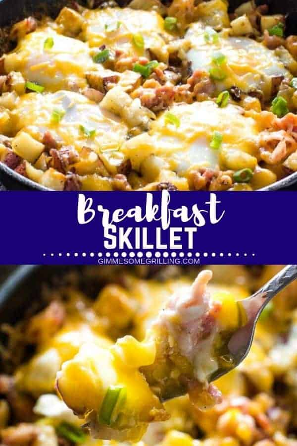 A hearty breakfast skillet that is prepared on your grill or oven! Fresh potatoes, cheese, bacon and more make this amazing breakfast recipe a hit with everyone. Make it for breakfast or make it for dinner. Whichever you choose it's going to be a hit with your entire family! #breakfast #skillet