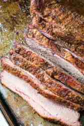 smoked beef brisket slices on pan