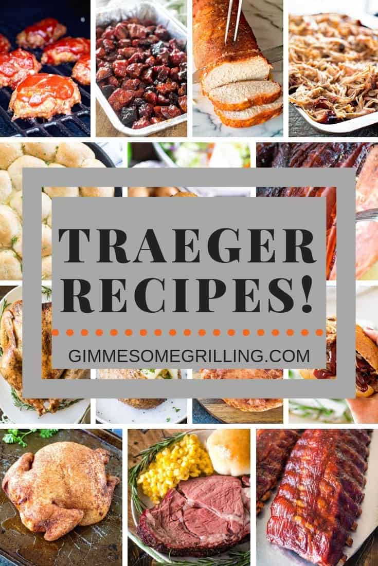 Tons of easy Traeger recipes for your wood pellet smoker! These recipes are made on your electric smoker and anyone can make them. We have pork loin, pork butt, brisket, prime rib, potatoes, pie and more! Which Traeger recipe are you going to try first? #traeger #recipe