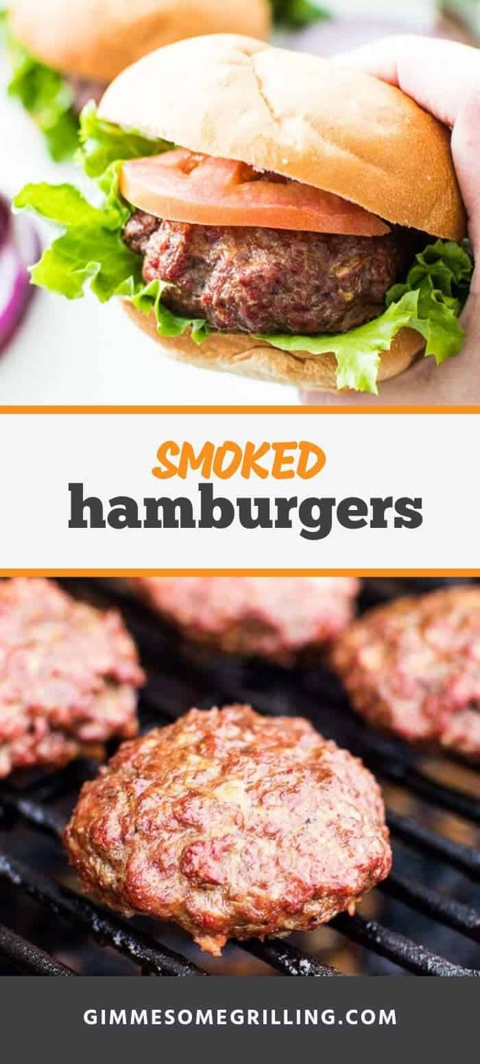 Juicy, delicious and perfectly seasoned Smoked Burgers make a delicious and easy dinner recipe on your Traeger. These Smoked Hamburgers are quick and easy. Make them for dinner or your next backyard party! #smoked #burgers via @gimmesomegrilling