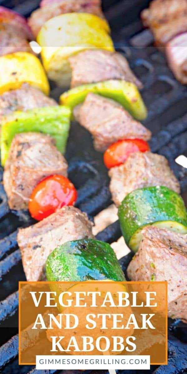 Delicious, tender marinated steak and vegetables on a Kabob Stick. Steak Kabobs are a delicious dinner hot off the grill that are tender, juicy and bursting with flavor. You can include your favorite vegetables like onions, peppers, zucchini and squash! #steak #kabobs via @gimmesomegrilling