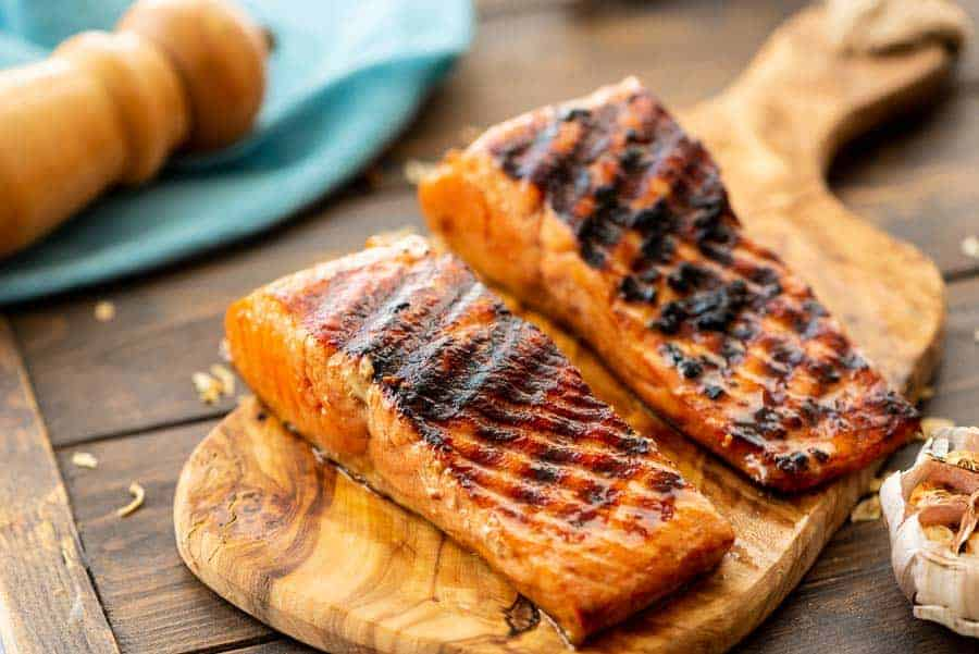 Grilled Salmon on wood board