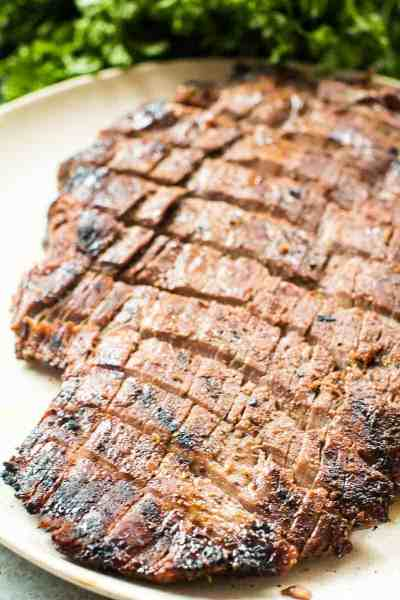 Marinated Smoked Flank Steak on plate