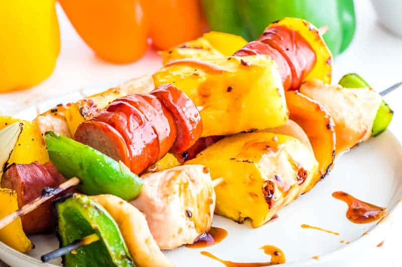 Chicken Kebabs on white plate