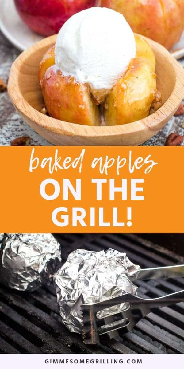 Baked Apples on the grill is a fun dessert that's perfect for camping, grill out or just because you want an apple dessert! This recipe can also be made in the oven. Tender, juicy apples that are stuffed with an amazing oatmeal filling. Top them with caramel and ice cream after they are done baking or grilling! #baked #apple