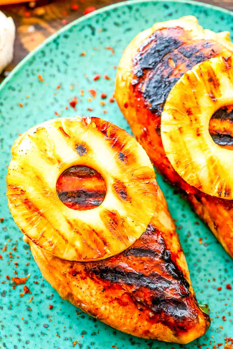 Grilled Pineapple Chicken cooked on plate