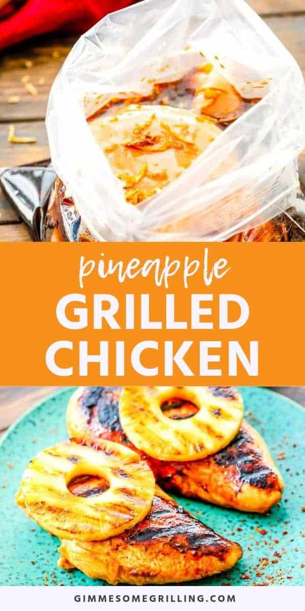 Grilled Pineapple Chicken is a quick and easy dinner recipe on your grill. You will make a simple homemade marinade for your chicken breasts. Then grill them along with pineapple slices. You have a tender, juicy chicken breast topped with a slightly charred and caramelized pineapple ring! This is the BEST grilled dinner recipe! #chicken #grilled via @gimmesomegrilling