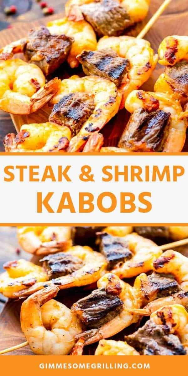 Steak and Shrimp Kabobs recipe is a quick and easy weeknight meal that only requires four ingredients and 20 minutes. Make this fun twist on surf and turf on the grill when you need a quick meal that tastes like you are dining out! #steak #shrimp