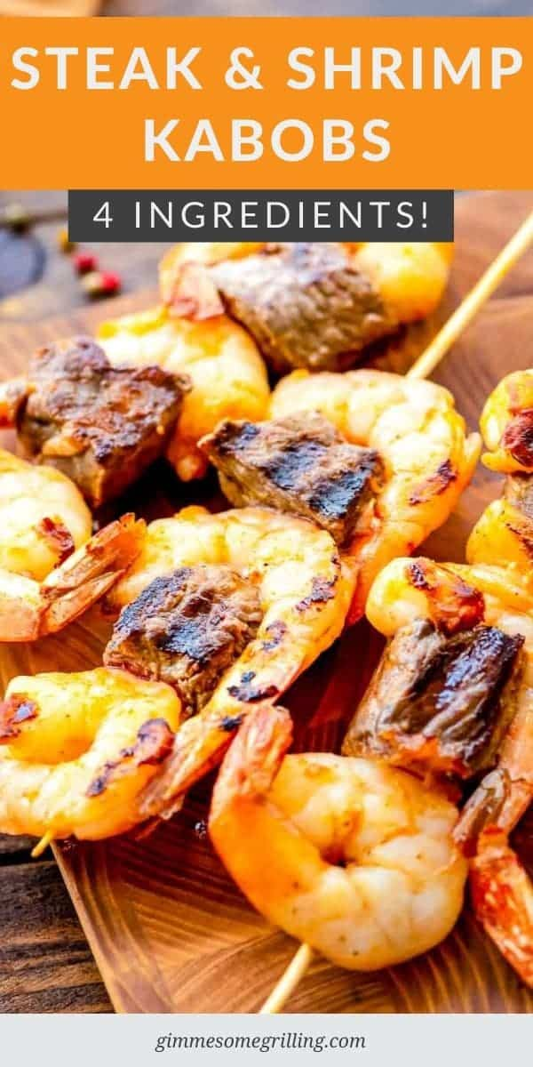 Steak and Shrimp Kabobs are an easy dinner recipe hot off the grill with only 4 ingredients. Simply toss your sirloin steak cubes with raw shrimp, olive oil and steak season. Skewer them on your skewer sticks and grill them. #kabob #recipe via @gimmesomegrilling