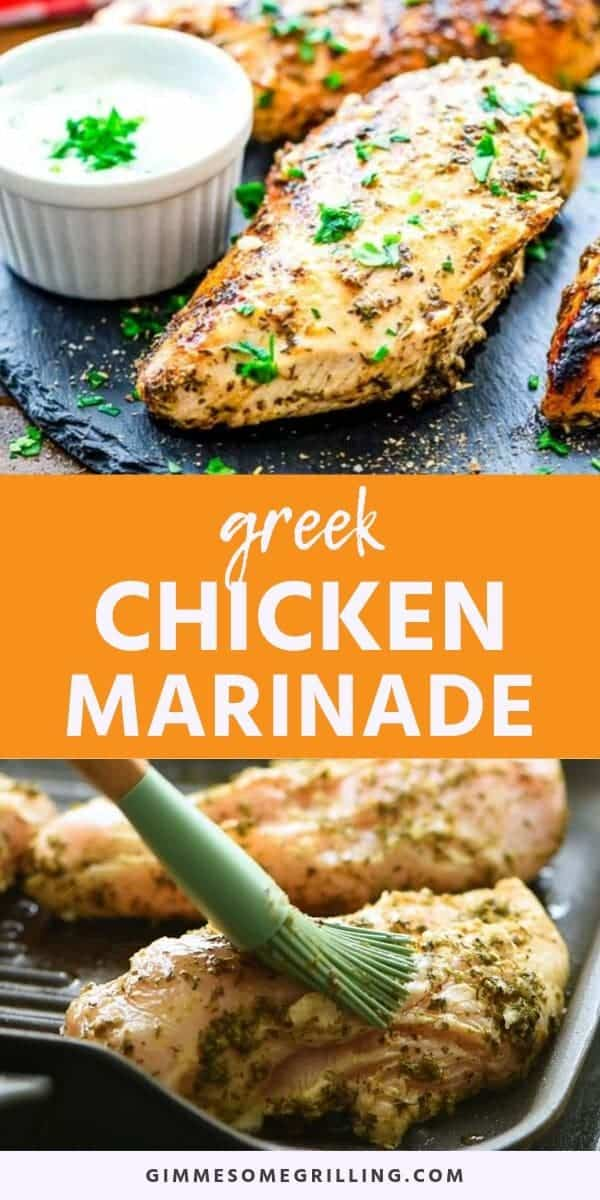 Greek Chicken Marinade is a quick and easy marinade recipe that will give your chicken amazing flavor and make it so tender! The combination of classic Greek flavors like lemon, garlic and oregano will have your taste buds bursting. This is perfect for a easy grilled dinner recipe on a busy weeknight. #greek #marinade