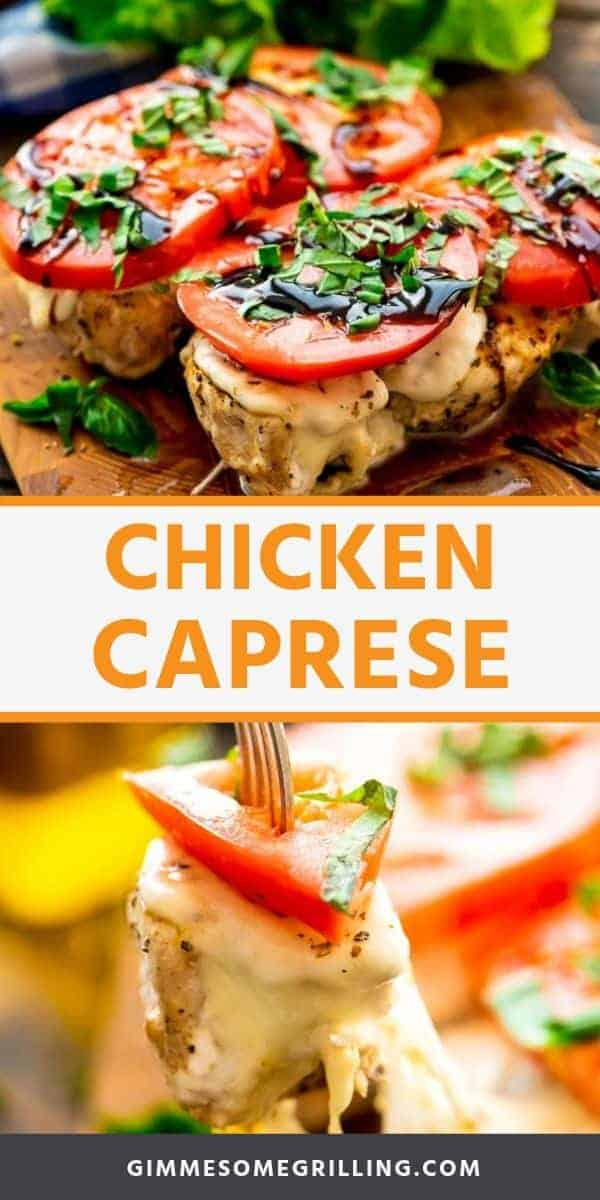 Chicken Caprese is a delicious, healthy dinner recipe bursting with flavor. Grilled Chicken Breast that's seasoned then topped with fresh mozzarella, a slice of ripe tomato, basil and balsamic reduction. It can be made on a gas grill or on the stove top with a grill pan for a quick and easy dinner recipe! #chicken #caprese