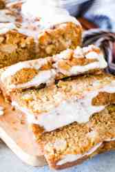 Apple bread sliced with icing