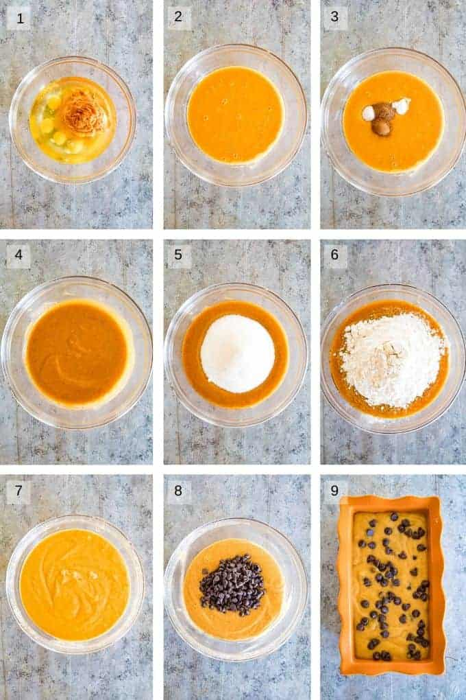 Nine photo collage step by step of how to make the batter for pumpkin bread