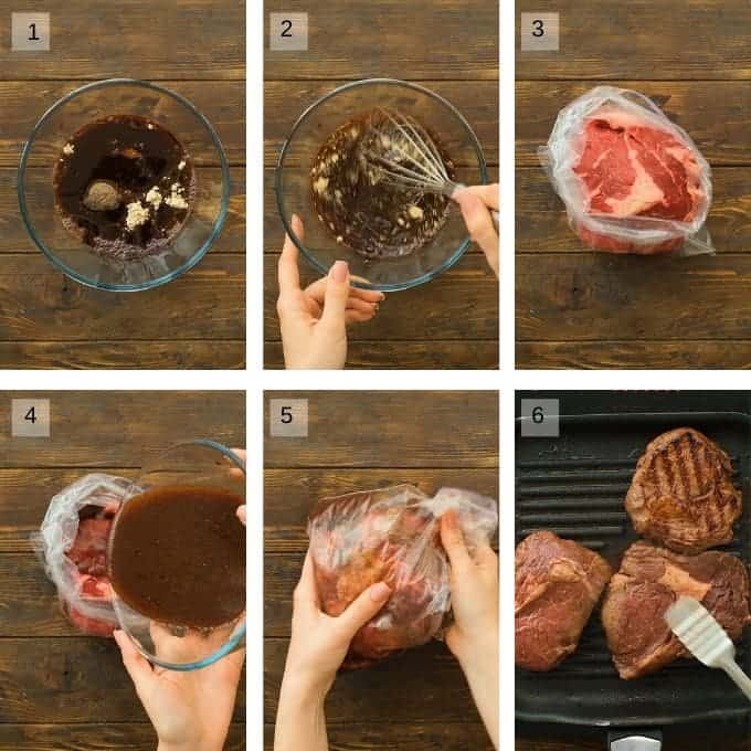Collage of 6 image showing mixing of red steak marinade and pouring it into ziplock bag with steak to marinade, then grilling steak on grill pan.