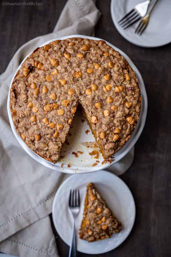 Pumpkin butterscotch streusel cake