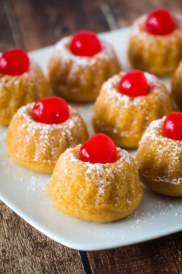 Mini rum cakes dessert