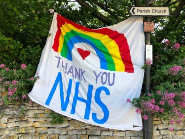 Thank You NHS flag with rainbow