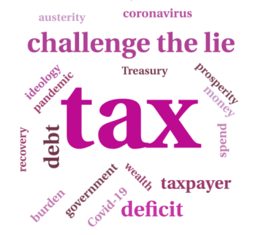 Word cloud with the words tax, Challenge the lie, taxpayer, deficit, debt, government, prosperity, austerity, ideology, pandemic, Covid-19, coronavirus, treasury, money, spend, wealth,burden and recovery