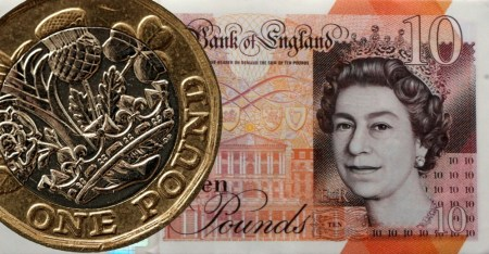 £1 coin and £10 Bank of England banknote