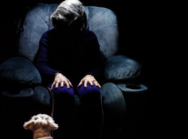Elderly woman sitting on an armchair in the dark with her dog.