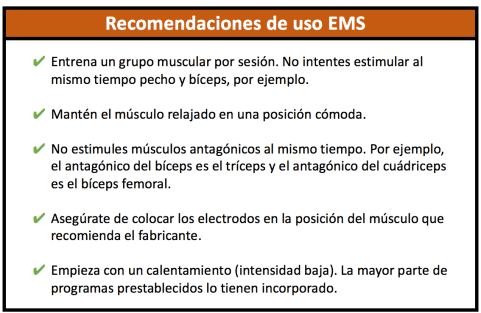 Tabla electroestimulador EMS