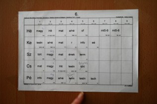 Tjedni raspored mađarskih gimnazijalaca